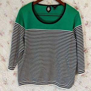 Talbots black & white striped 3/4 sleeve top green